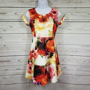BONNIE JEAN rose floral circle dress girls 16